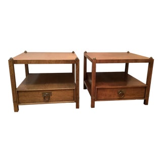 Vintage Henredon Wood + Brass End Tables - a Pair For Sale