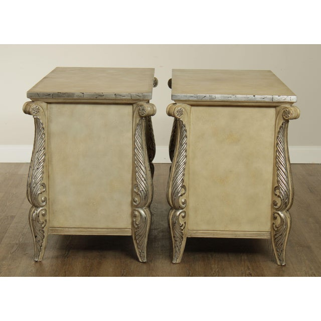 Rococo Style Custom Silver Leaf Foliage 2 Door Commodes Servers - a Pair For Sale In Philadelphia - Image 6 of 12