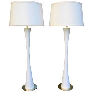 Very Tall White Tulip Metal and Brass Lamps by Stewart Ross James for Hansen - a Pair For Sale