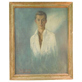 Large Vintage Original Painting of Handsome Male Portrait by Listed Artist For Sale