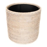 Image of Artifacts Rattan Round Waste Basket With Metal Liner For Sale