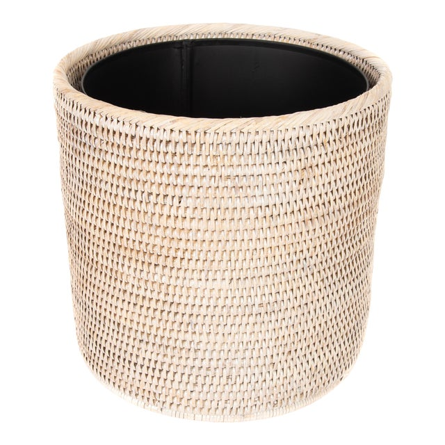 Artifacts Rattan Round Waste Basket With Metal Liner For Sale