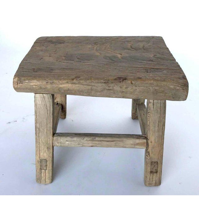 Asian Rustic Japanese Elm Stool or Small Table For Sale - Image 3 of 8