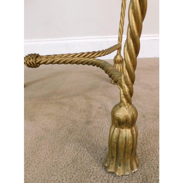 Hollywood Regency Italian Gilt Metal Rope and Tassel Vanity Stool For Sale - Image 10 of 13