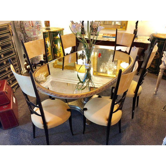 Italian Set of Six Italian Aldo Tura Side Dining Chairs in Goatskin and Parchment For Sale - Image 3 of 13