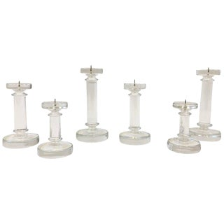 Set of Six Italian Murano Glass Candlesticks by Archimede Seguso For Sale