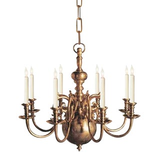 Visual Comfort E.F Chapman 8 Light Brass Chandelier For Sale