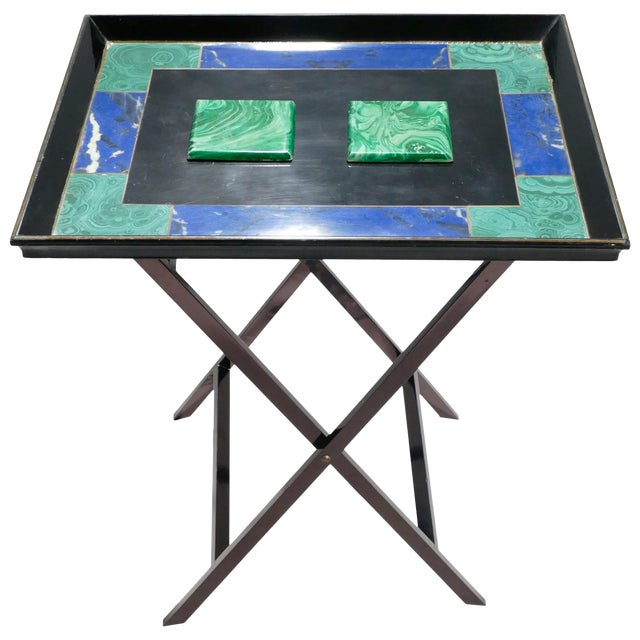 Christian Dior Faux Malachite Folding Tray Table, 1970s For Sale