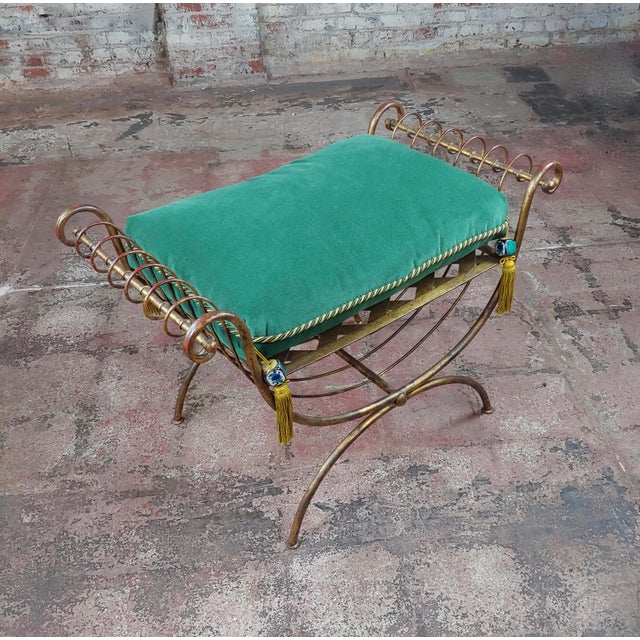 "Beautiful Gilt Metal French Lady's Bench w/velvet Pillow -c1920s size 34 x 19 x 23"" seat 22"" A beautiful piece that will..."
