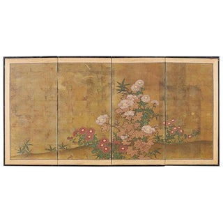 Japanese Four-Panel Flowers of Autumn Byobu Screen For Sale