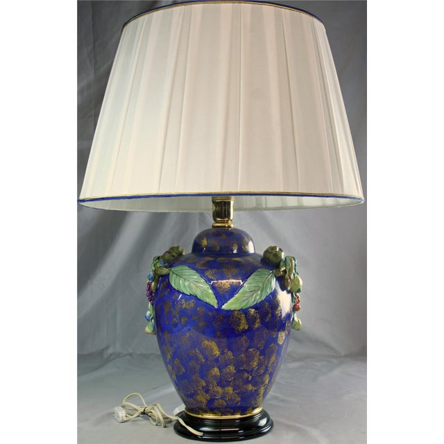 Italian Majolica Table Lamp Hand-Painted Blue For Sale In Columbia, SC - Image 6 of 8