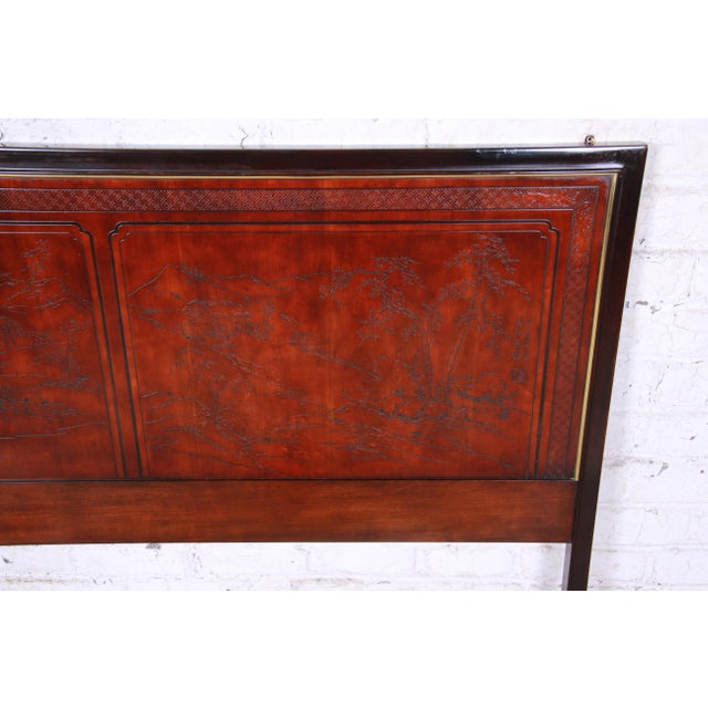 Drexel Heritage Drexel Heritage Mahogany and Brass Hollywood Regency Chinoiserie Queen Size Headboard For Sale - Image 4 of 8