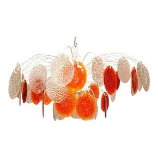 Feders Orange Hanging Chandelier For Sale