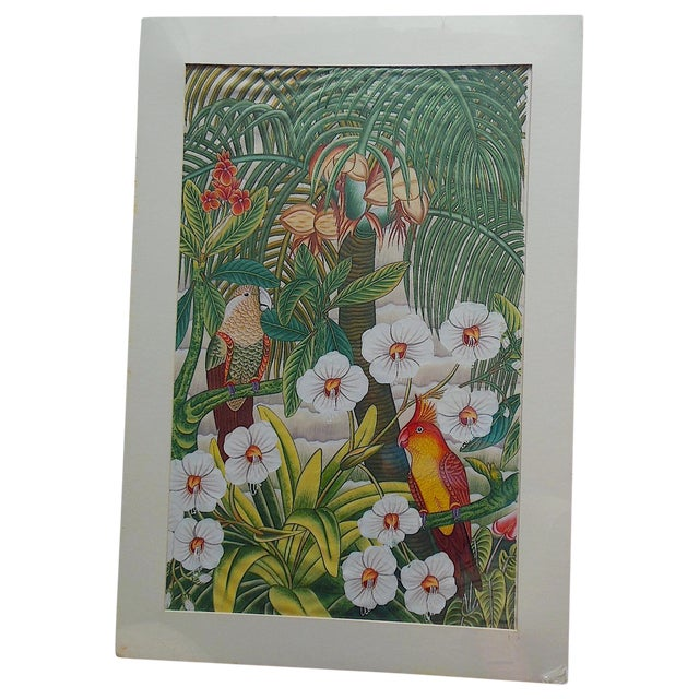 Large Vintage Signed Asian Painting-Tropical Scene For Sale