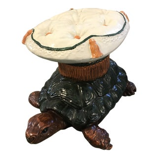Vintage Turtle Garden Seat Stool For Sale