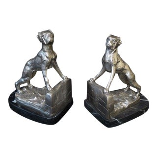 Bronze Boxer Dog Bookends - a Pair For Sale