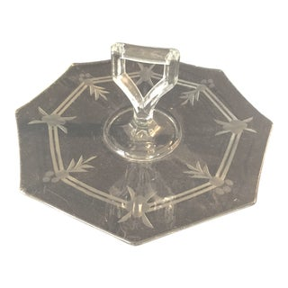 1930s Vintage Octagonal Holly Pattern Handles Glass Sandwich Tray For Sale
