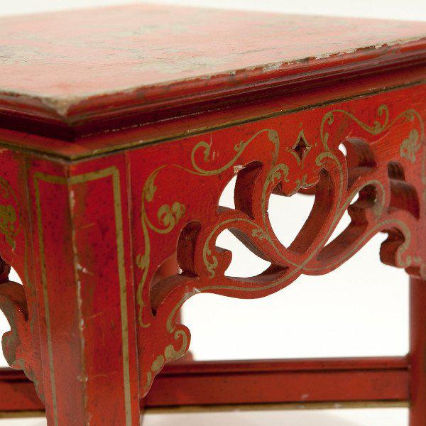 Red Chinoiserie Tables - A Pair - Image 5 of 5