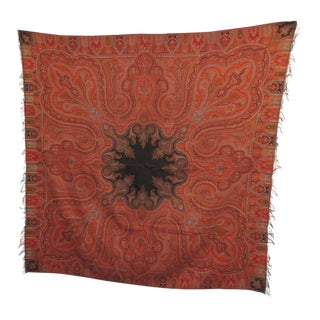 19th Century Square Kashmir Paisley Shawl Tapestry For Sale