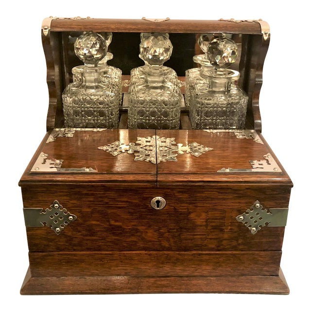 Antique English Golden Oak Games Box Tantalus, Circa 1880. For Sale