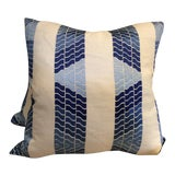 """Image of Brunschwig & Fils Blue """"Clouds"""" Embroidered Linen Pillows - a Pair For Sale"""