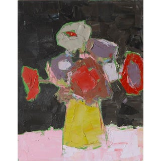 "Bill Tansey ""Brown Wall"" Abstract Floral Oil on Canvas For Sale"