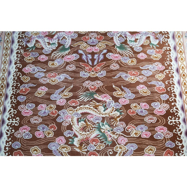 Textile Chinese Hand Knotted Wool Dragon Rug - 6′ × 9′ For Sale - Image 7 of 10