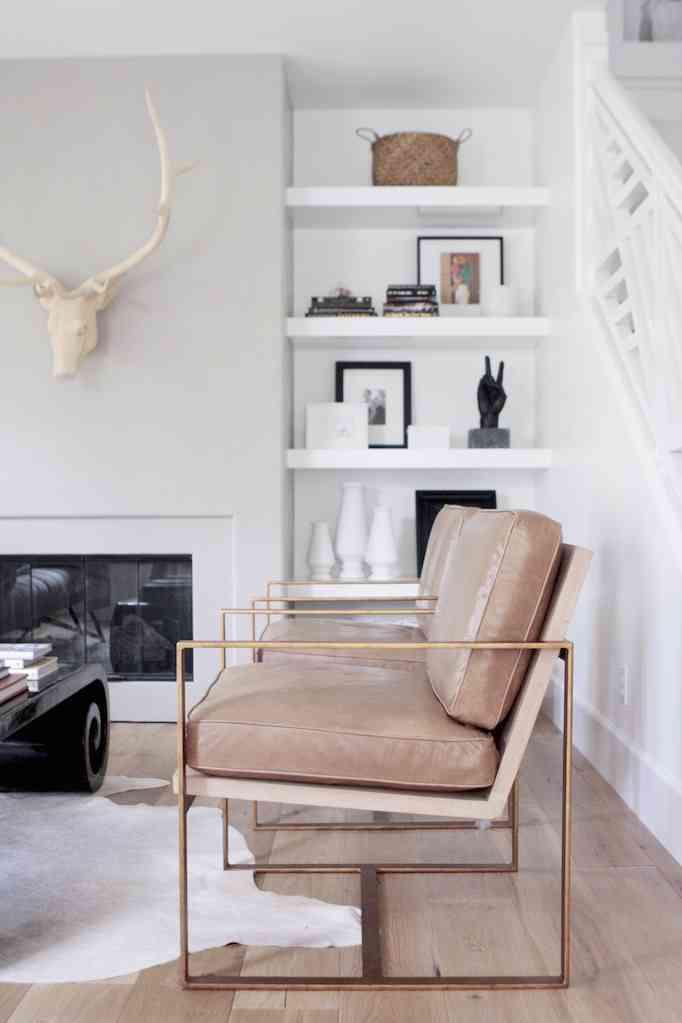 Contemporary Redford House Blush Pink Leather With Gold Metal Frame  Manhattan Lounge Chairs   A Pair