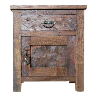 1990s Rustic Style Teak End Table