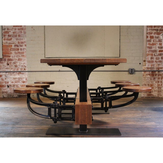Not Yet Made - Made To Order Industrial Swing-Out-Seat Cafe Table For Sale - Image 5 of 9