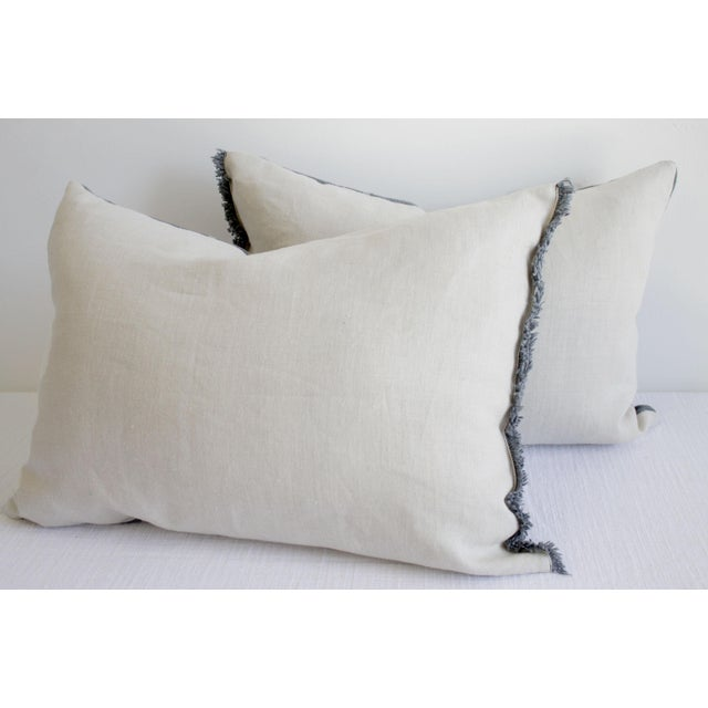 Vintage Mud Cloth Standard Sham Pillows in Gray Blue - a Pair For Sale In Los Angeles - Image 6 of 7
