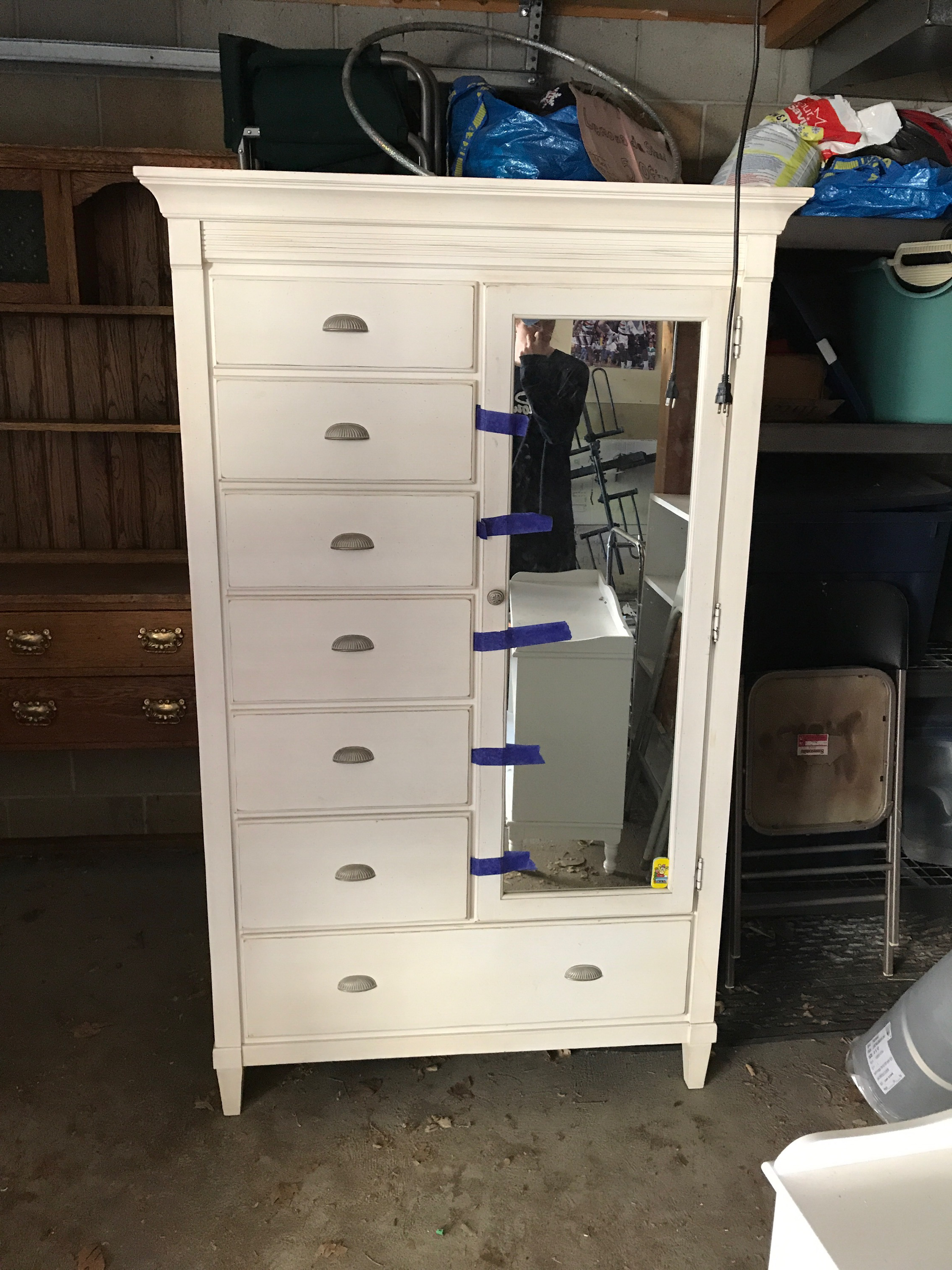 Ethan Allen Swedish Home Painted Armoire Dresser With Mirror. High Quality,  American Made,