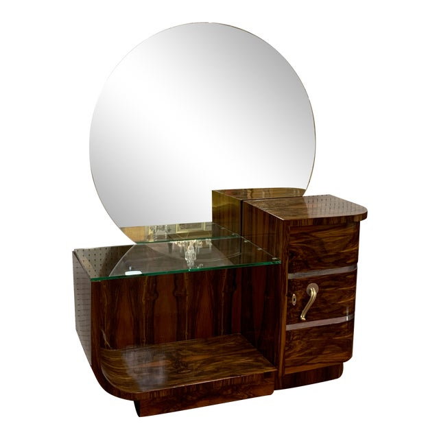 1930s Art Deco Rosewood Vanity With Round Mirror For Sale