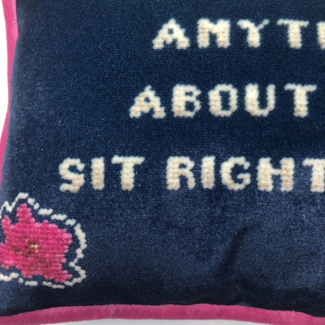 Alice Roosevelt Longworth Sassy Quote Ink Blue Velvet Toss Pillow For Sale - Image 4 of 8