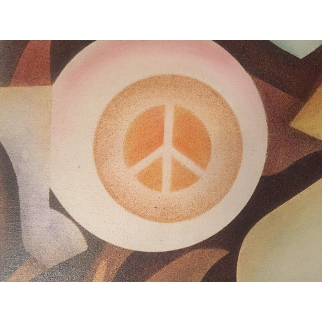 Vintage Abstract 'Peace' Painting - Image 3 of 6
