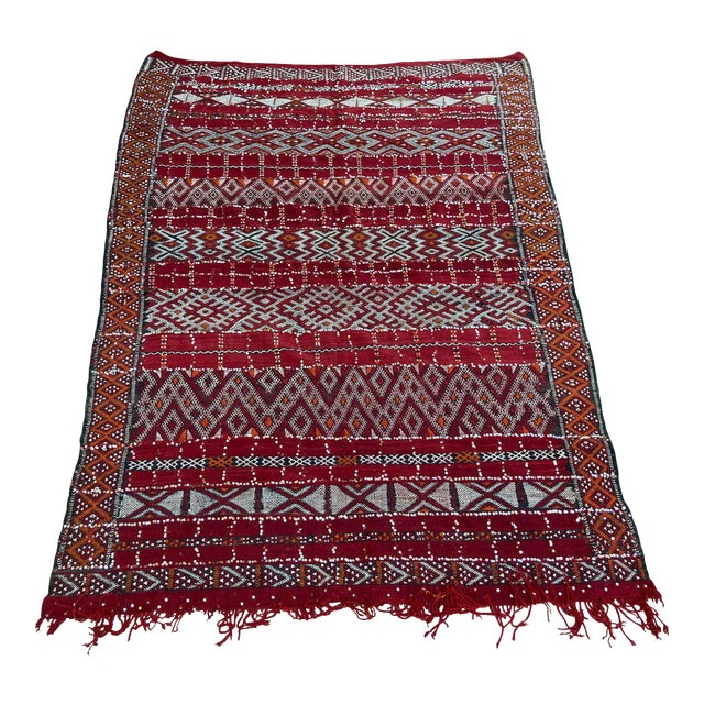 Moroccan Vintage Ethnic Textile with Sequins North Africa, Handira For Sale