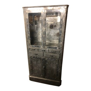 Vintage Metal Cabinet With Top Glass Doors For Sale