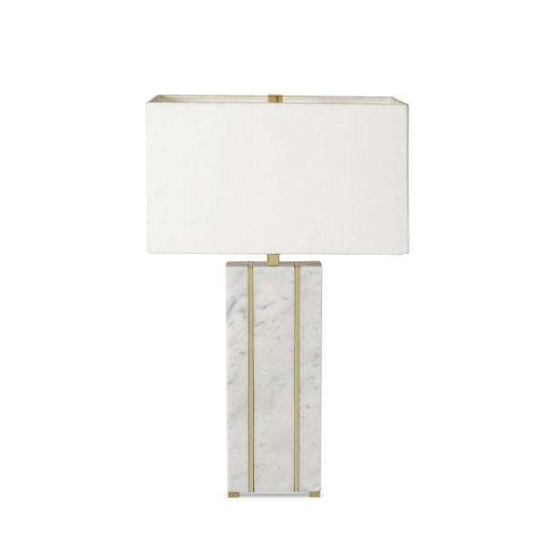 Brass Rectangular Marble Table Lamp For Sale - Image 7 of 7