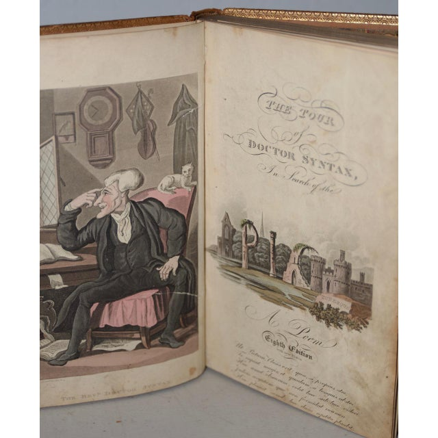 Black Early 19th Century Leather-Bound Books With Engravings by Rowlandson - a Pair For Sale - Image 8 of 13