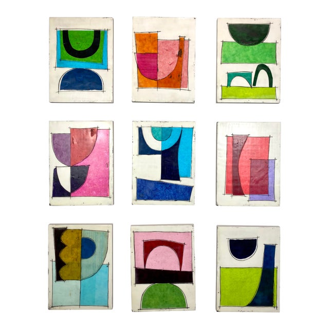 """""""Better Days"""" Encaustic Collage Installation by Gina Cochran - 9 Panel Set For Sale"""