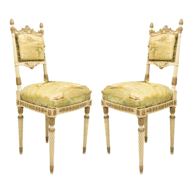 Italian Neoclassic Silk Upholstery Chairs For Sale