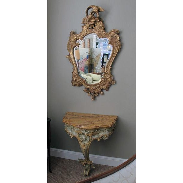 A Curvaceous Italian Rococo Style Cartouch-Shaped Carved Giltwood Mirror For Sale In San Francisco - Image 6 of 6