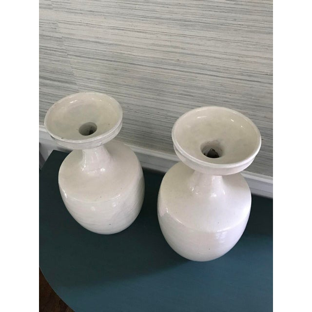 Tall Glazed White Ceramic Urns - A Pair - Image 5 of 6