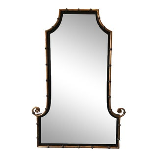 1990s Gilt Iron Faux Bamboo Beveled Mirror For Sale