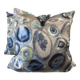 "Embroidered Agate 22"" Pillows-A Pair For Sale"