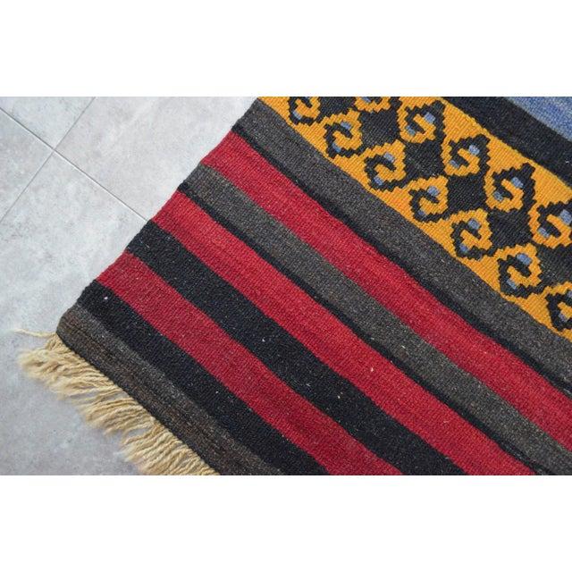 "Anatolian Wool Kilim Long Runner Rug - 2'7"" X 12'3"" - Image 9 of 9"