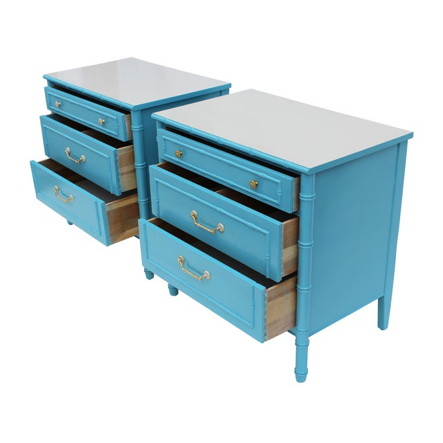 Faux Bamboo Chests by Thomasville - A Pair For Sale - Image 9 of 10