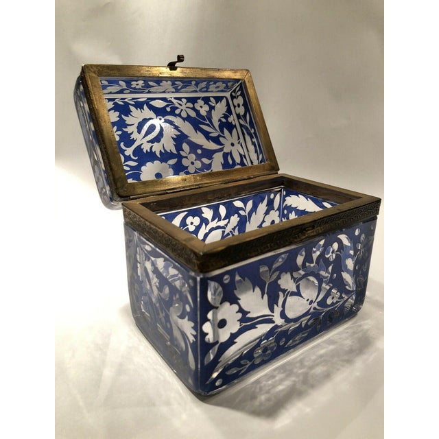 Up for sale is a gorgeous antique Bohemian glass sugar casket, which can also be used as a jewelry, vanity, or trinket...