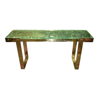 """Ice Cracked Resin """"Gucci"""" Style Design Brass Console Table For Sale"""