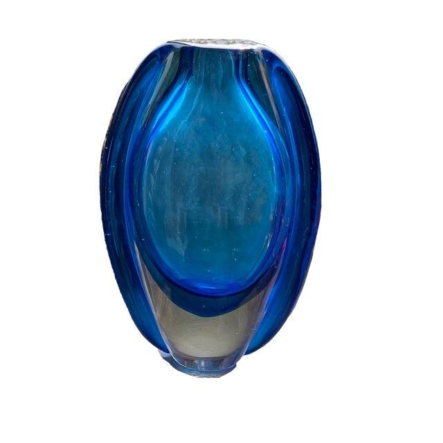 """Beautiful blue art glass vase. 8.75"""" High x 5.5"""" Wide x 1.75"""" Deep"""